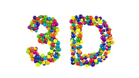 Isolated letters made from red, yellow, blue, green, orange and purple balls forming the word 3D
