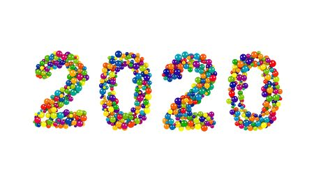 over packed: 2020 New Year card or template with the date formed of rainbow colored balls densely packed over a white background with copy space Stock Photo