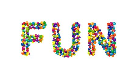 Isolated letters made from red, yellow, blue, green, orange and purple balls forming the word FUN