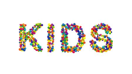 Various sized globes in solid blue, purple, yellow, green and red forming the word kids over white Stock Photo
