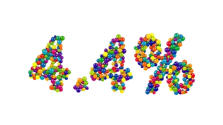 The sign fourpoint four percent of joyful bright colored marbles isolated on white background
