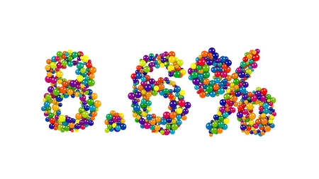 Multicolored sweets Arranged to form 8.6% reduction or discount sign on white background