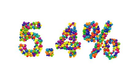 Digits five point four percent of bright colored 3D marbles on white background
