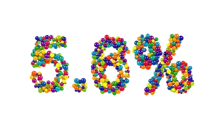 Digits five point six percent made of joyful colored 3D marbles over white background Stock Photo