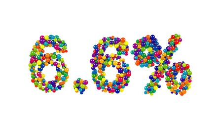 3D digits six point six percent made of shiny colorful marbles over white background Reklamní fotografie