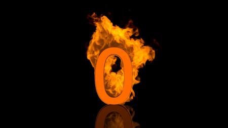 burning: Flaming Number Zero Burning in Orange Fire Centred on Black Background in Concept Image