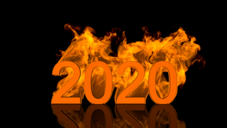 Dynamic 2020 New Year date design with fiery numerals engulfed in bright orange flames over a black background