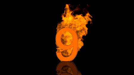 flaming: Flaming Number Nine Burning in Orange Stock Photo