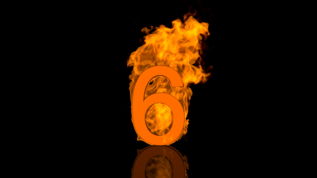 burn out: Flaming Number Six Burning in Orange Fire