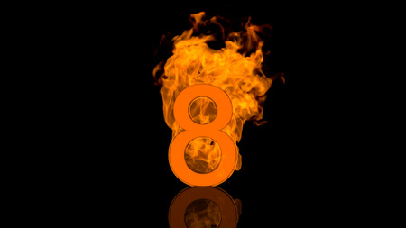 flaming: Flaming Number Eight Burning in Orange Stock Photo