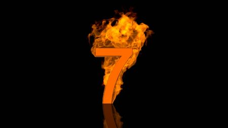 flaming: Flaming Number Seven Burning in Orange Fire Stock Photo