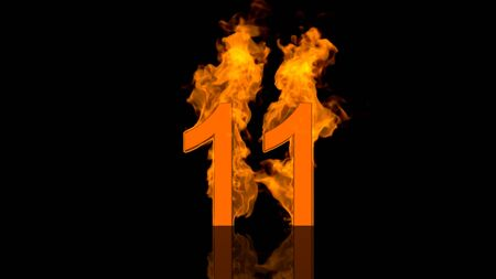 flaming: Flaming Number Eleven Burning in Orange. Stock photography Flaming Number Eleven Burning in Orange