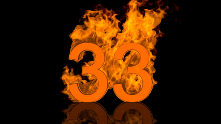 burn out: Flaming Number Thirty Three Burning in Orange Fire Centred on Black Background in Concept Image