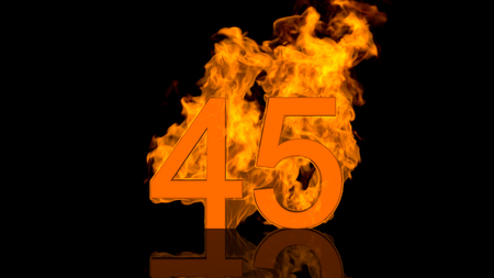 Flaming Number Forty Five Burning in Orange Fire Centred on Black Background in Concept Image
