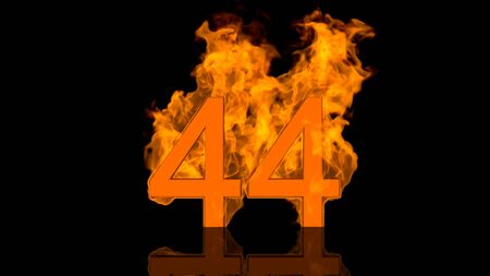 Flaming Number Forty Four Burning in Orange Fire Centred on Black Background in Concept Image