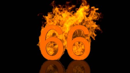 Flaming Number Sixty Six Burning in Orange Fire Centred on Black Background as 3D rendering