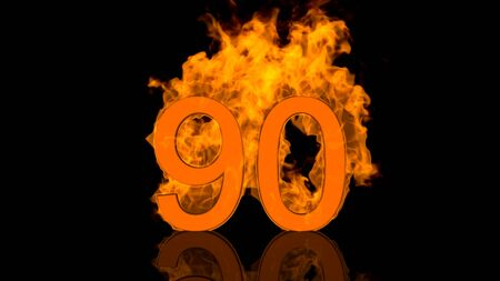 Flaming Number Ninety Burning in Orange Fire Centred on Black Background as 3D rendering