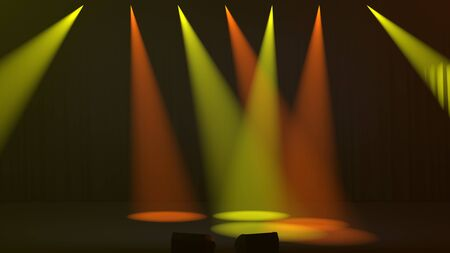 Seven colorful yellow and orange spotlights shining down through a smoky atmosphere onto an empty stage at oblique angles with two silhouetted empty seats in the foreground as 3D rendering as 3D rendering 免版税图像