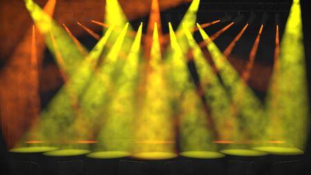 Múltiples focos de colores verdes y naranjas que brillan en un escenario vacío a través de una atmósfera llena de humo en un intrincado patrón coreografiado entrecruzado durante una presentación en vivo o espectáculo como representación 3D