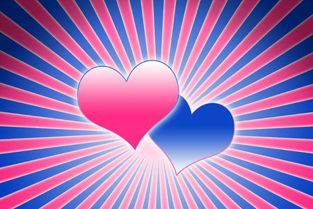hot couple: lovely pink and blue heart background composition