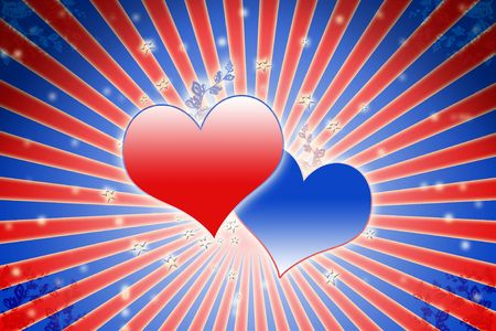 offering: lovely red and blue heart background composition
