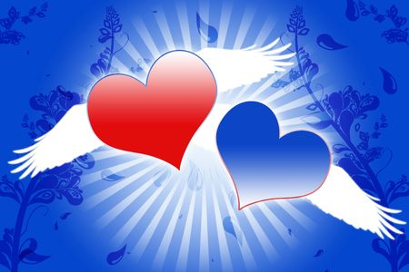 air kiss: lovely red and blue heart background composition