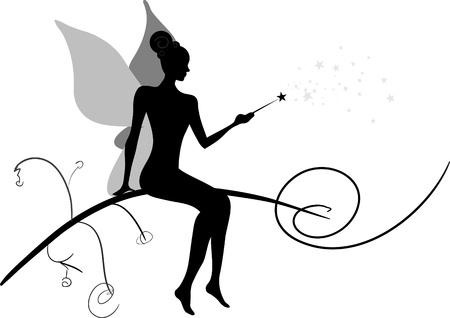 Silhouette of magic fairy Stock Vector - 17894372