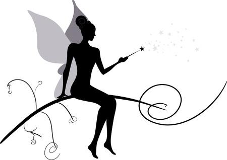 Silhouette of magic fairy Stock Vector - 18181410