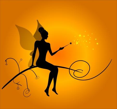 Silhouette of magic fairy Stock Vector - 18181411