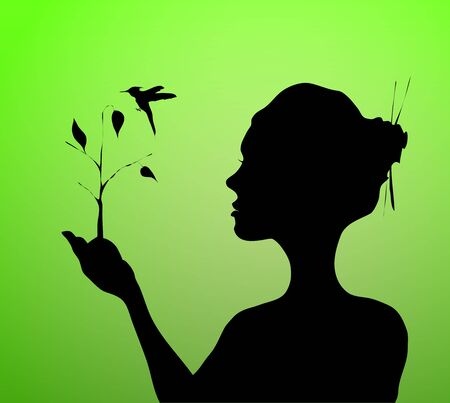 Vector woman hand holding and planting  tree with bird Vector