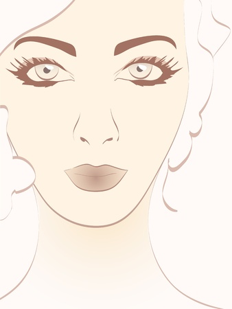 beautiful woman face portrait vector illustration Stock Vector - 18411001