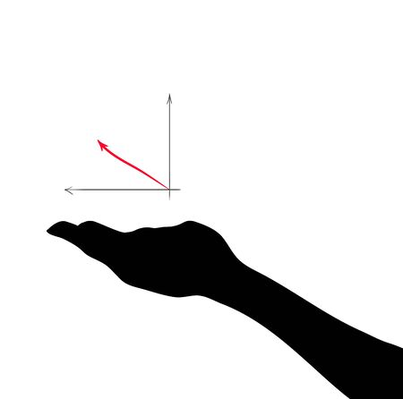 Hand with color high graph arrow