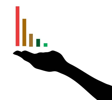 Hand with color info-graphic chart Illustration