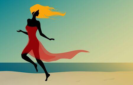 Beautiful girl running on the beach