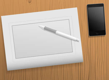 personal digital assistant: Vector drawing tablet on table with smartphone