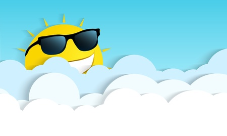 Sun smiling in clouds Stock Vector - 18709359