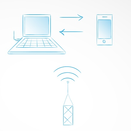 internet synchronization phone with computer Vector
