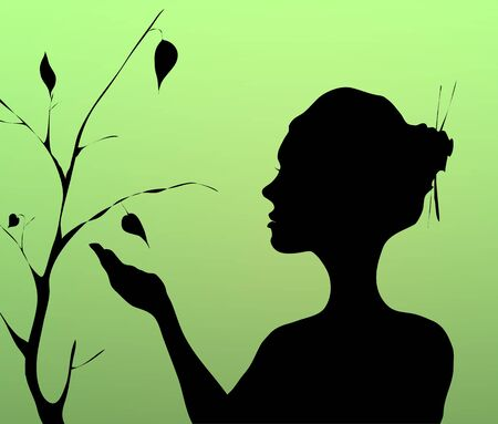 Woman hand holding and planting  tree with bird Illustration