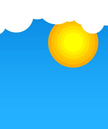 Sun in clouds with blue sky Illustration