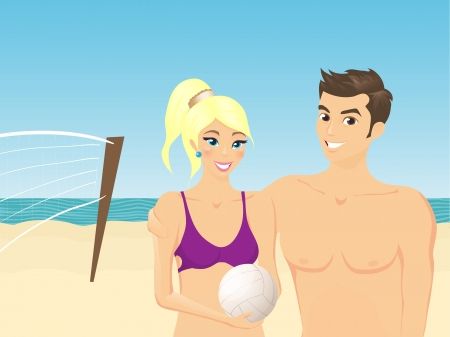 Smilling boy and girl on the beach  Illustration