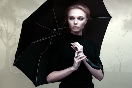 Beautiful girl portrait with umbrella Stock Photo - 20619372