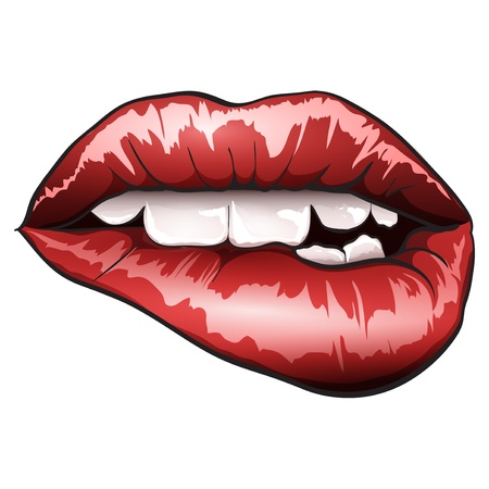 mouth: glossy lips Illustration