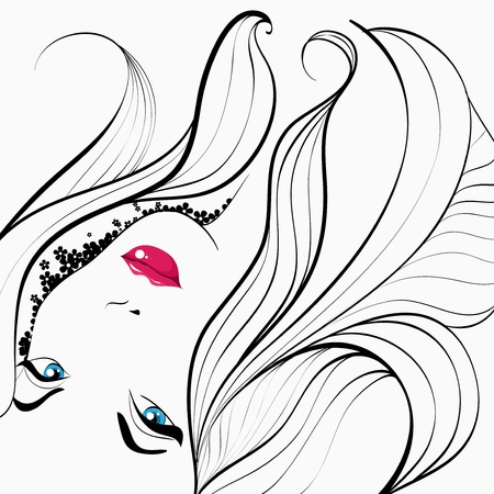 woman makeup: Girl with long hair Illustration