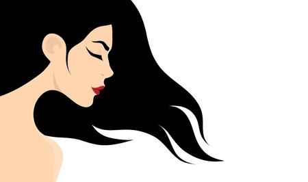 Girl with long hair Stock Vector - 21994017
