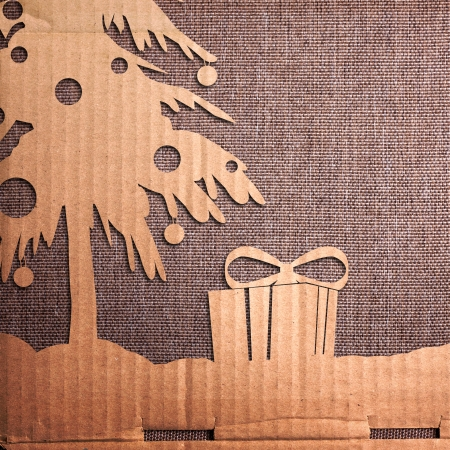 Christmas decoration over grunge backgroundvintage paper christmas card