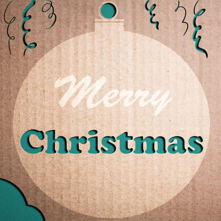 Christmas decoration over grunge vintage paper christmas card