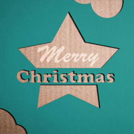 Christmas decoration over grunge vintage paper christmas card