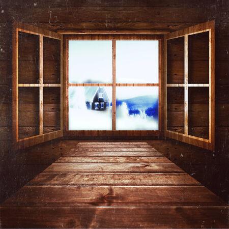Christmas inside village room window