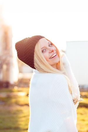 Pretty smiling woman portrait outdoor Stock Photo