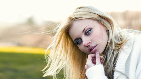 Portrait of a beautiful young girl close-up Stock Photo